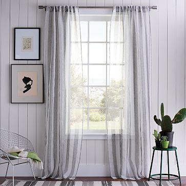 Sullivan Woven Window Panel #WilliamsSonoma: Sheer Curtains, Woven Window, Window Panels, Summer Stripes, Master Bedrooms, Window Treatments, Stripes Curtains, Sullivan Woven, West Elm