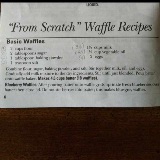 Waffle recipe. Added an extra tablespoon of sugar and 1/2 teaspoon of vanilla extract. My wife ate it without syrup and liked it.