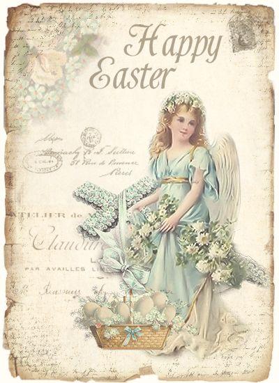 .Paaskaart met Engel  post vintage kaart,...........lb