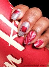 Canada Day Watermarble & Holo Mani 5/6 #nail #nailart #canadaday #whatsupnails #nailvinyl #nailstencil #mapleleaf #canadaflag #holographic #watermarble #stripes