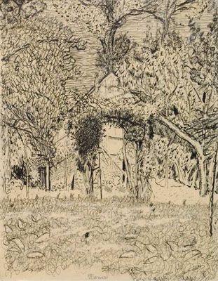 Bonnard / La Roulotte, vers 1915 Plume, encre brune et encre de Chine, Le Cannet, musée Bonnard, Don de Françoise Cachin, 2007 © Le Cannet, musée Bonnard /