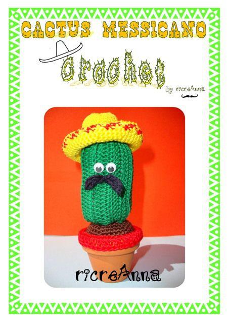Cactus che rappresenta un messicano, con occhietti mobili, vaso di coccio, baffi e cappello. http://ricreanna.wordpress.com/2013/09/16/pdf-cactus-messicano-crochet/