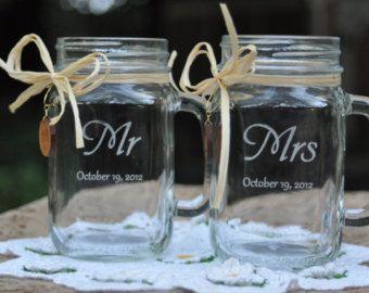 #MasonJar #Wedding Glasses - #Bride & #Groom