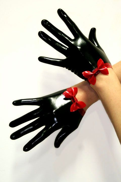 Full fingered latex gloves with mini bow..