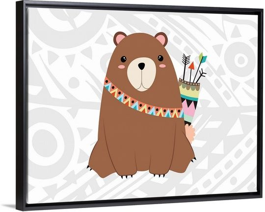 "Children's artwork of a bear in tribal makeup carrying arrows on a neutral tribal pattern background - ""Tribal Bear"" wall art by Tamara Robinson from Great BIG Canvas"