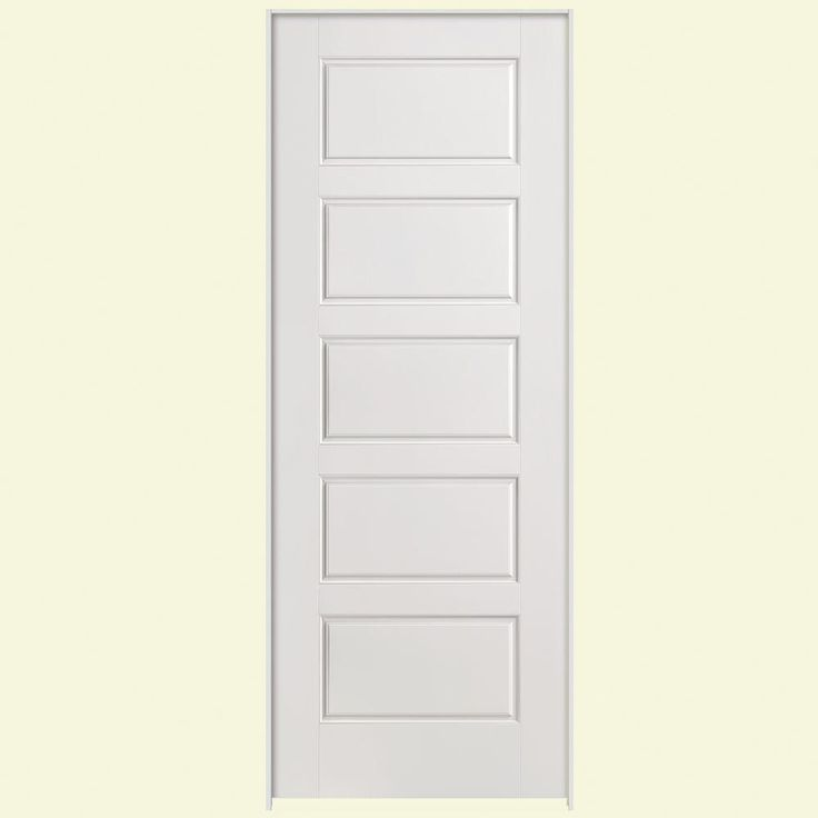Masonite Safe-N-Sound Riverside Smooth 5-Panel Equal Solid Core Primed Composite Prehung Interior Door-49157 at The Home Depot