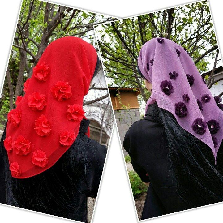 Платки своими руками украшеные цветами из ткани и стразами сваровски