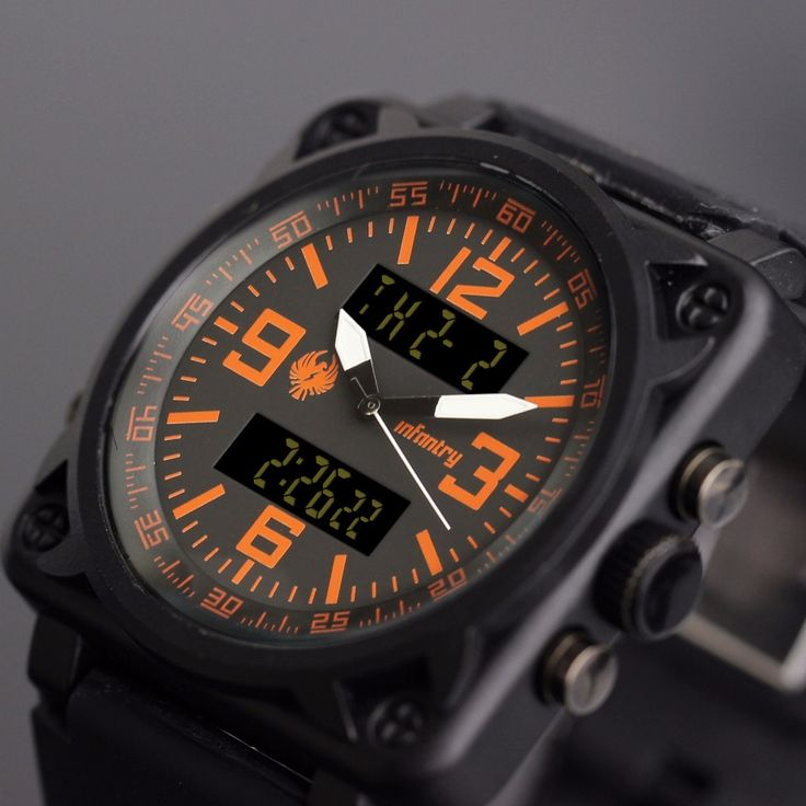 ПЕХОТА Мужская Кварцевые Часы Квадратное Лицо Цифровой Военные Часы Оранжевый Мужской Часы Моды Роскошные Часы 2016 Relogio Masculino