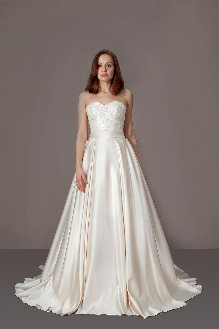 Пышное атласное свадебное платье, шлейф, атлас, цвет крем, Кремовое платье. Платье принцессы
