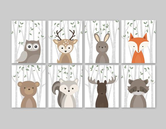 Woodland Print Set for a woodland themed Nursery - Cute forest animals decor for kids bedroom or nursery.  This adorable wall art of eight prints features cute woodland animal illustrations: Owl Deer Rabbit Bear Squirrel Moose Raccoon and Fox on a birch tree background with green leaves. The background color used is white, but is fully customizable. Just choose the Custom Color option and leave a note for me with the order if any changes are required.   ▶ ITEM DETAILS:  • set of 8 art prints…