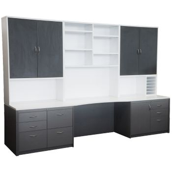 Custom Wall Unit / Hutch in two tone melamine (Polar White / New Graphite as shown) featuring under bench filing drawers, overhead swing door cupboards and open shelving along with a small pigeon hole unit. This style of workstation is becoming increasingly popular for home offices with a setting designed to suit your needs and space. Plea arrange a call out and measure up at no charge.se speak to one of our qualified sales staff to
