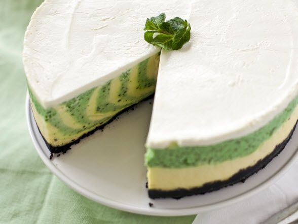 St. Patrick's day is a time to turn everything green in honor of the Irish Saint. This creamy cheesecake with festive green stripes is perfect to serve after corned beef, cabbage and a Guinness. Using fresh mint makes the rich cake as bright in flavor as it is in appearance.
