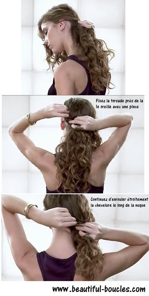 Attacher ses cheveux bouclés : une queue de cheval basse sur le côté épaule, one shoulder : tutoriel www.beautiful-boucles.com