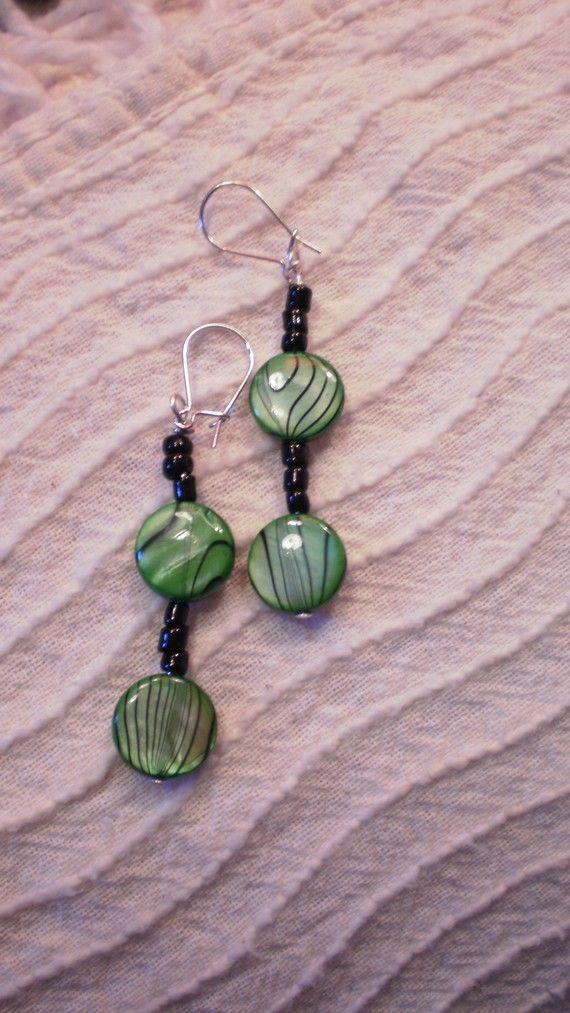 green/black drop earrings / women/ teen by KaterinakiJewelry