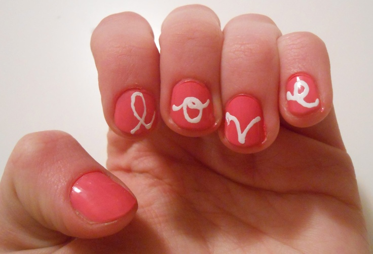 DIY Nail Design: Love Script. I'd maybe add a heart on the thumb so that every nail has something on it :)