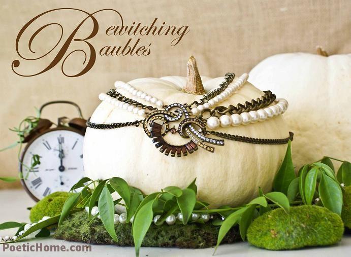 Baubled Pumpkin!: Holiday, Decorating Ideas, Bewitching Baubles, Fall Decorating, Fall Decorations, White Pumpkins, Jeweled Pumpkin, Halloween, Vintage Jewelry