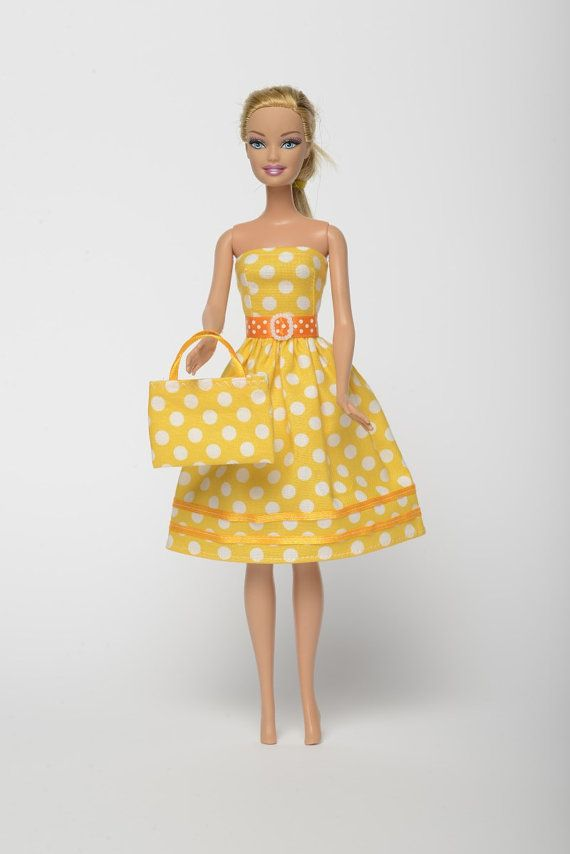 "Handmade Barbie doll clothes, Barbie dresses, Barbie outfit - ""Summer Date"" Barbie dress with bag (223)"