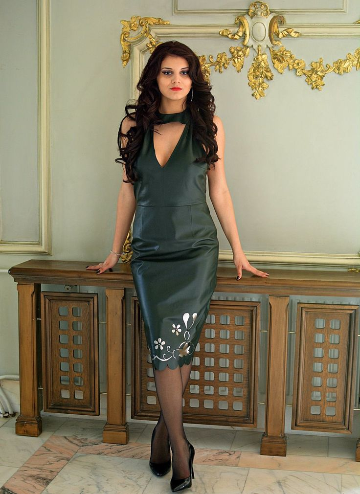 Midi Green leather dress by DSTcraft on Etsy