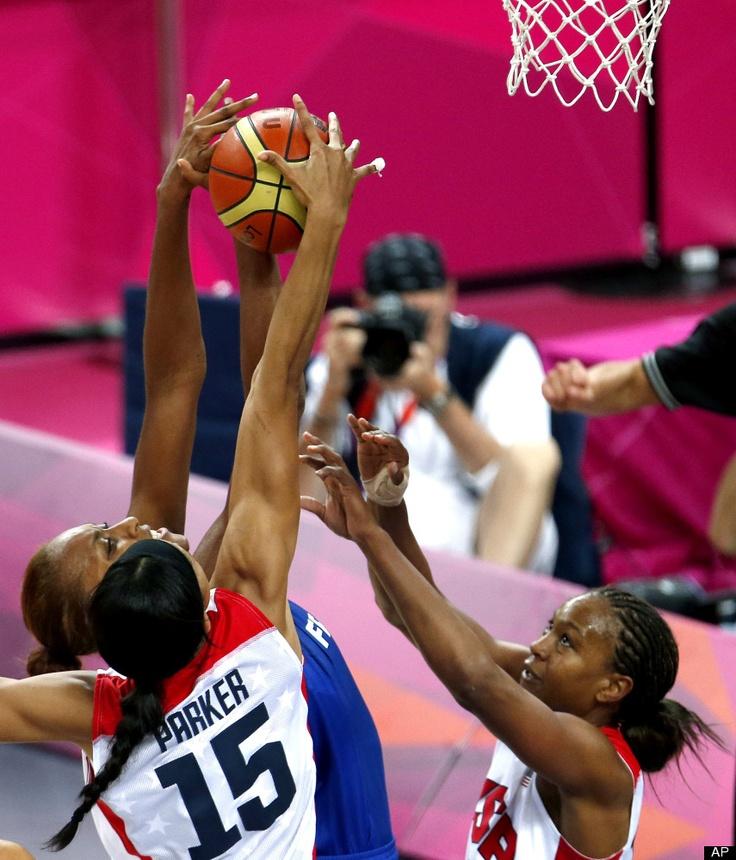 USA's Candace Parker blocks France's Sandrine Gruda   Gold Medal Match