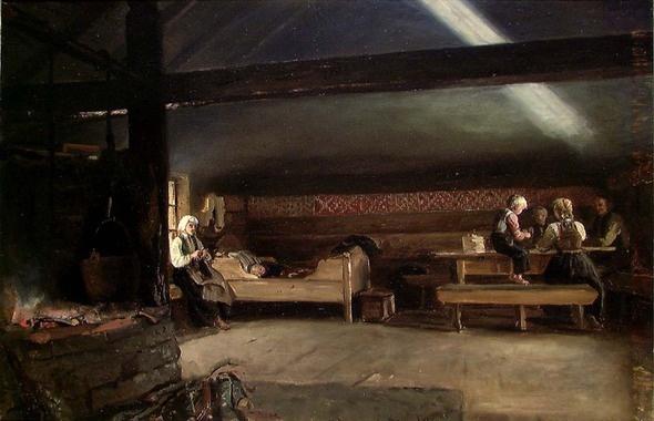 En krotet røykstue, Vikøy d'Adolph Tidemand