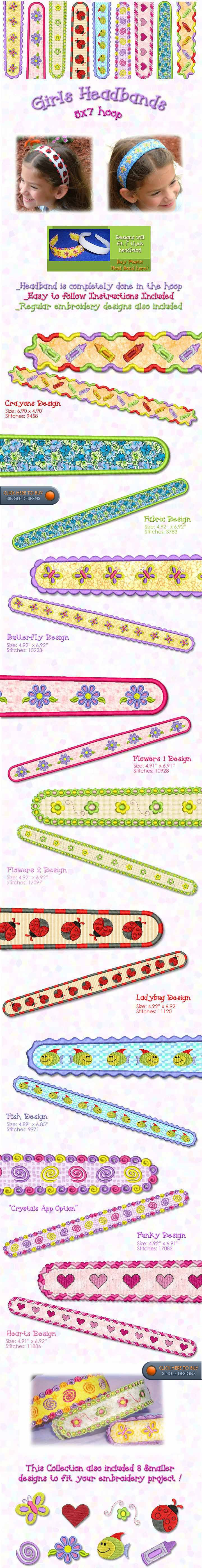 Cute headbands - monogramming in the hoop design