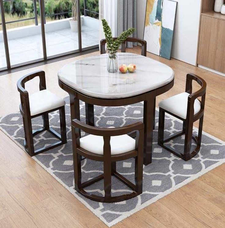Marble Dining Table With 4 Chairs Set, Solid Wood Round Dining Table Sets