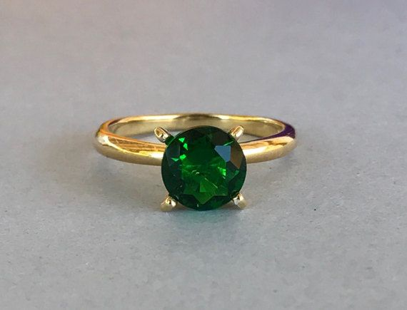 Round Natural Green Topaz 14K Yellow Gold by SimplySilvery on Etsy
