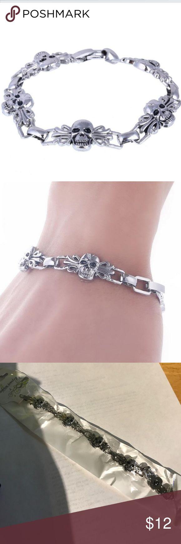 Skull bracelet Vintage stainless steel skull bracelet for punk jewelry men's charm bracelet Accessories Jewelry