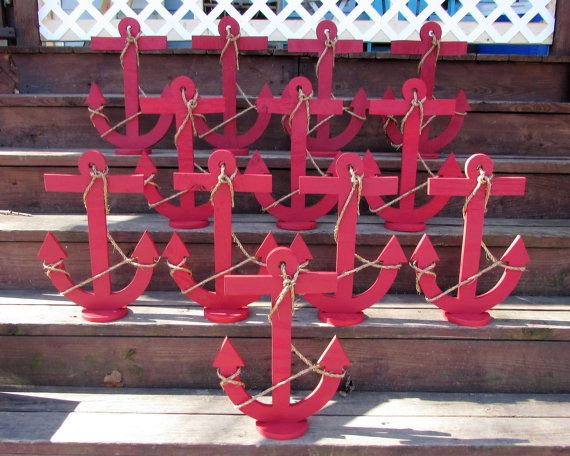 One 18 Inch Wood Anchor Centerpiece. Nautical by LakeShoreHome
