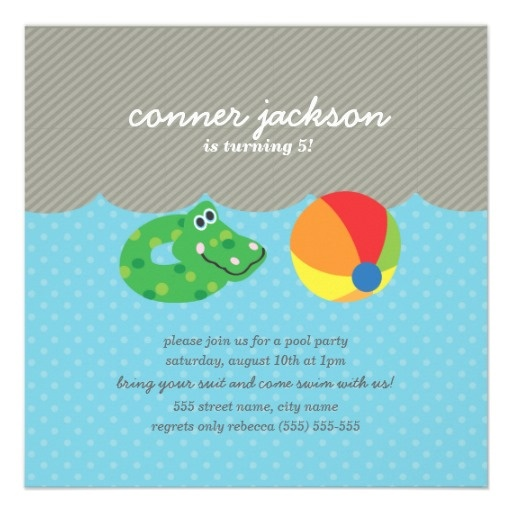Best Kids Pool Party Invites Images On   Boy Pool