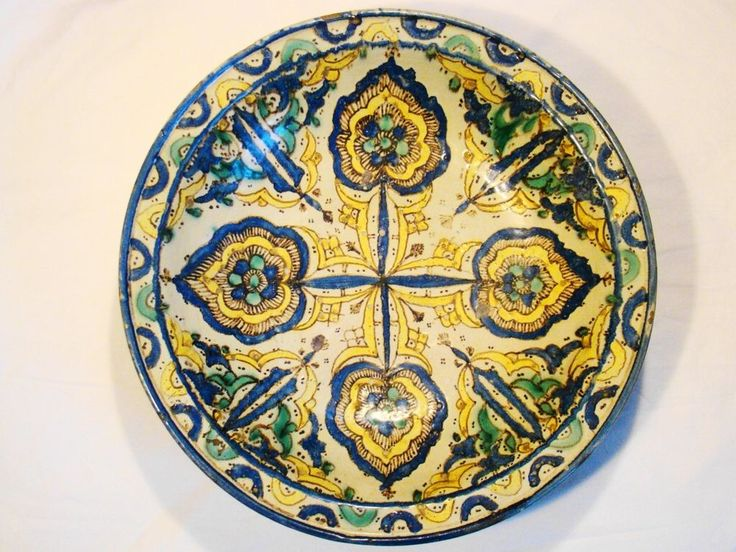 """Antique Moroccan Pottery Round Footed Large Bowl 16 3/8"""" dia, c. 18th century #Mooresque #Moroccan"""