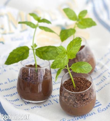 """Perinteinen suklaamousse piristyy kummasti, kun annostelet sen laseihin ja tökkäät niihin vielä mintunoksat """"kasvamaan"""". Katso ohje ja tee maukas mousse itse!"""