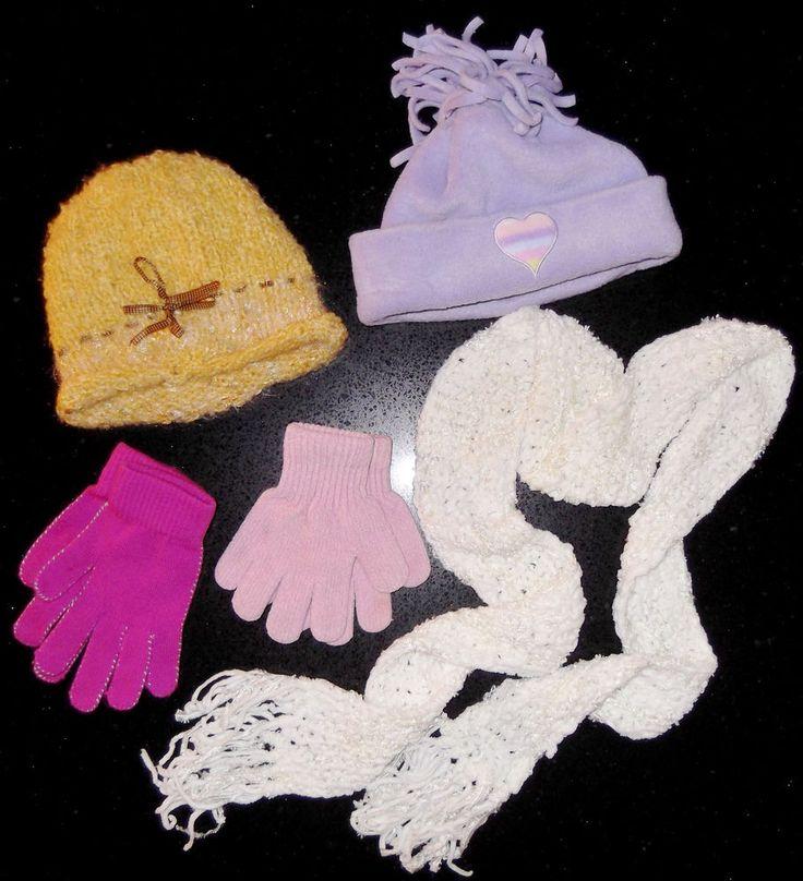 lot of 5 - hats gloves scarf - Handmade yellow beanie 2 Pink gloves  NICE CLEAN! #Handmade #EverydayGlovesHATSCARF