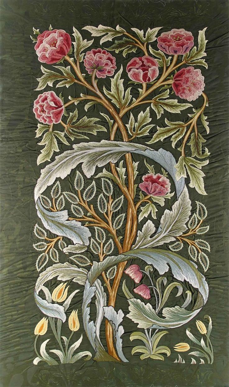 ¤ A Morris & Co silk embroidered panel, by Helen, Lady Lucas Tooth, the design attributed to John Henry Dearle the printed 'Oak' silk ground embroidered with peony stems and acanthus leaves in rich colours, framed unsigned