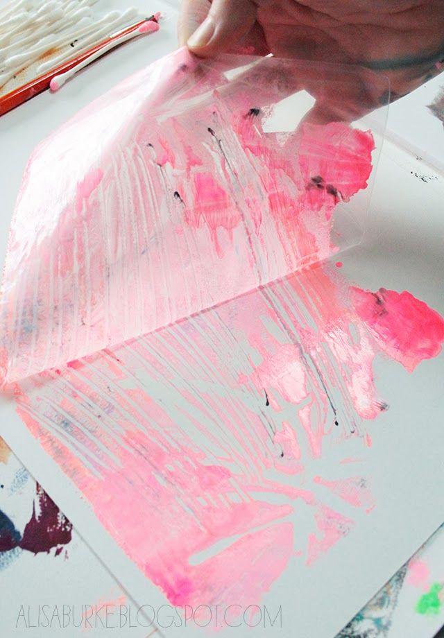 alisaburke: plastic bag printmaking monotype