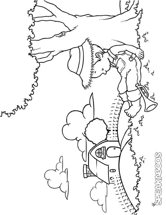 Coloring Pages: Little Boy Blue | Speakaboos Worksheets