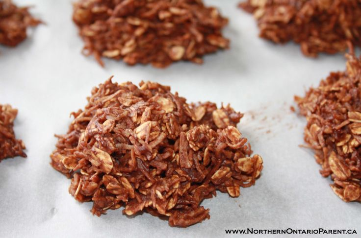 No-Bake Chocolate Macaroons - A Healthier Version  Here's where to find the recipe: http://www.northernontarioparent.ca/#!recipe--no-bake-chocolate-macaroons/c1rej