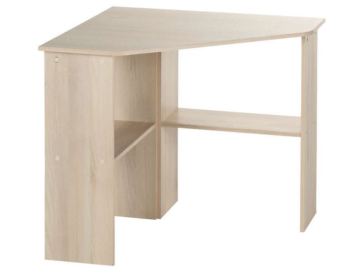 Bureau informatique d 39 angle acacia bureaux et angles for Table gain de place conforama