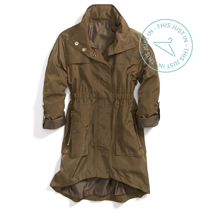 Olive it! A utility-green anorak jacket is an everyday essential—especially on misty mornings. #fogfashion