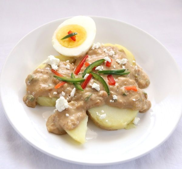 Peruvian Potatoes in Peanut Sauce