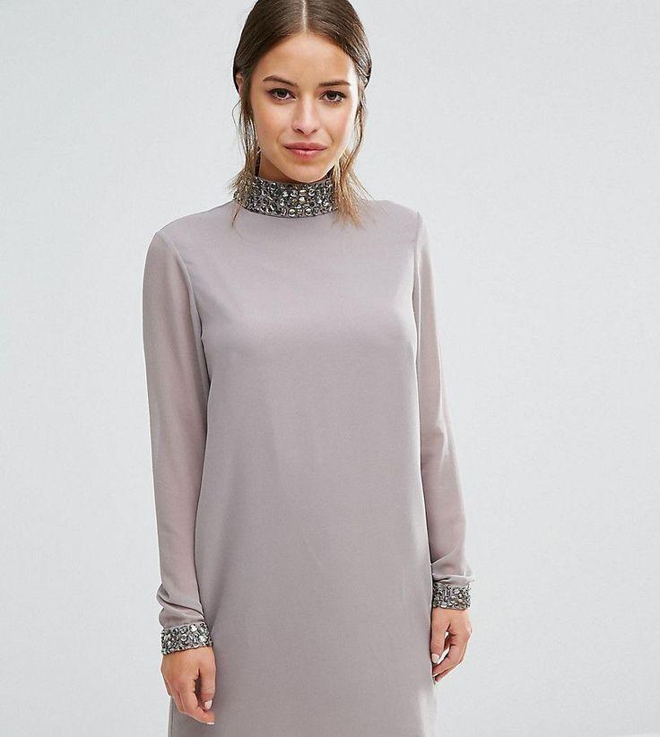 ASOS PETITE Sequin Neck Trim Shift Dress - Gray
