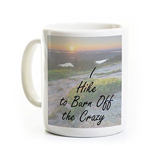 Hiking/Mountains Mug Gift- I Hike to Burn Off the Crazy. This listing is for ONE MUG. The design wraps around the mug - the two photos roughly depict each side of the mug. All mugs are 11 ounces and have a glossy finish. The text and image on each mug is very sharp - we do not allow poor quality mugs to leave the shop. The mugs are dishwasher and microwave safe because of the dye sublimation process that we use. This process chemically bonds the ink to the mug surface. You can expect your...