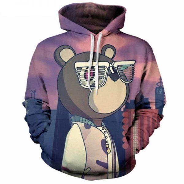 Kanye West Bear Male Pullover Black Hoody