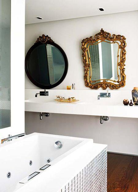 : Bathroom Design, Vintage Mirror, Gold Mirror, Modern Bathroom, Beautiful Bathroom, Bathroom Mirror, Bathroom Ideas, Bathroom Decor, Design Bathroom