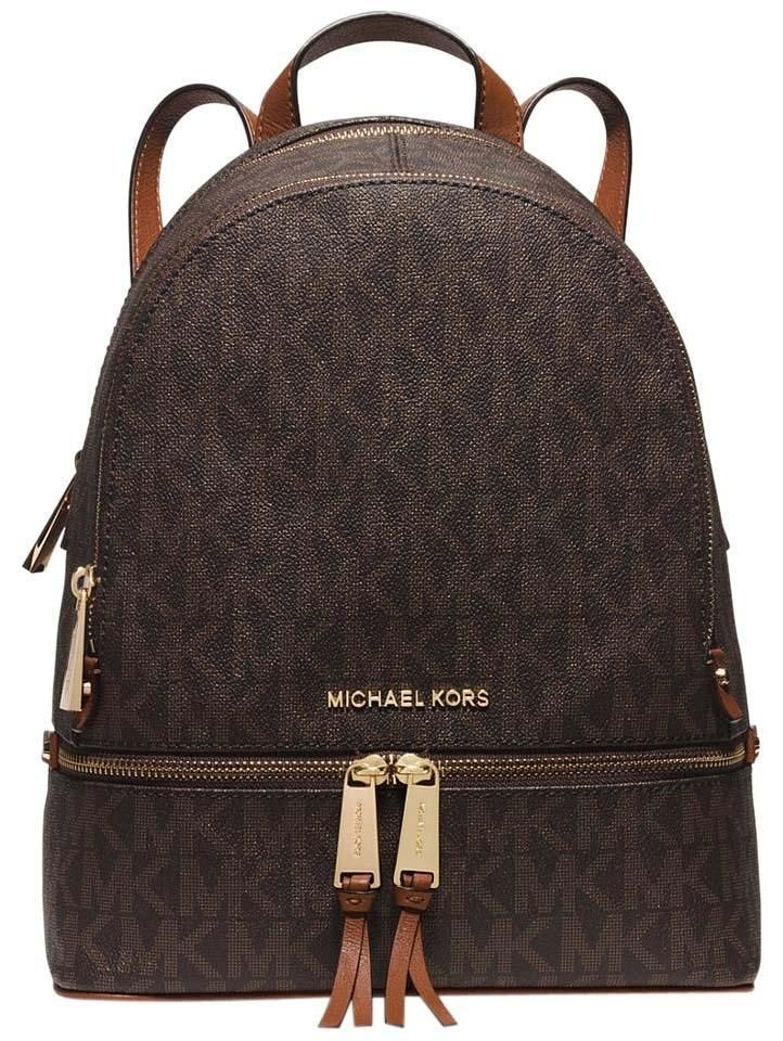 4c8df73f86d9 Rhea Zip Medium Signature PVC Signature/Gold Brown Leather Backpack # MichaelKors #Backpack