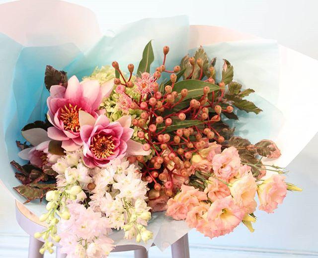 Fairy floss without the rotting teeth...  #chinaclay #clovelly #flowers #florist #clovellyflorist #sydneyflorist #australianceramics #functionalceramics #ceramicsgallery #FoundAtChinaclay #ceramicsbythesea #floweringgum #delphinium #copperbeach #lisianthus #waterlily #yourcoloursarepinkandpink