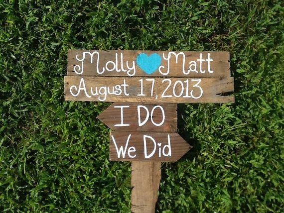 Rustic directional wedding sign