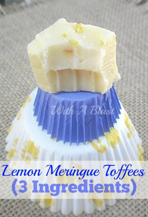 Only three everyday pantry ingredients needed to make these creamy, delicious Lemon Meringue Toffees and it really tastes like Lemon Meringue !