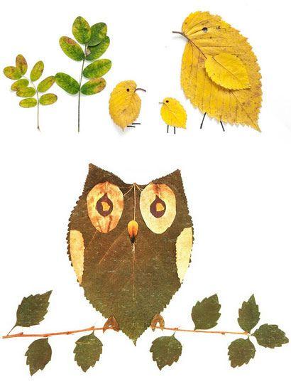 Leaf crafts for children - Gerepind door www.gezinspiratie.nl #knutselspiratie #knutselen #creatief #kind #kinderen #kids #leuk