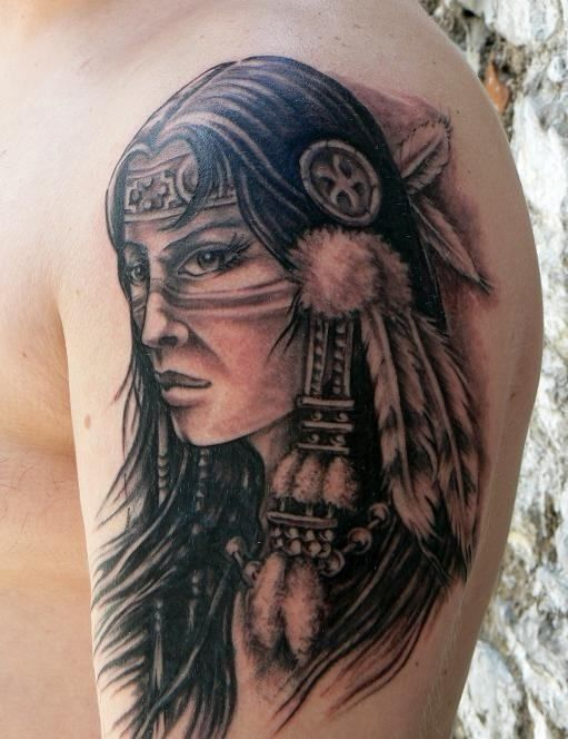 Native Girl Tattoo On Shoulder